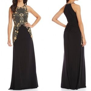 🆕 Adrianna Papell beaded halter gold black gown
